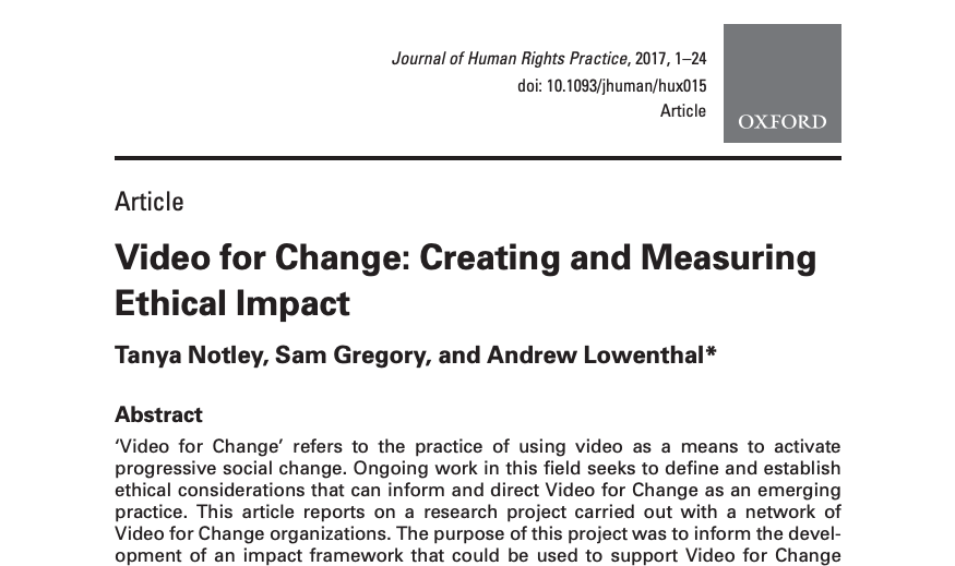 Video for Change: Creating and Measuring Ethical Impact
