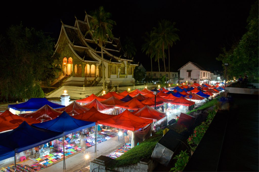 Night Market in Luang Prabang, a UNESCO World Heritage Site that boasts of its well-preserved architectural, religious and cultural heritage