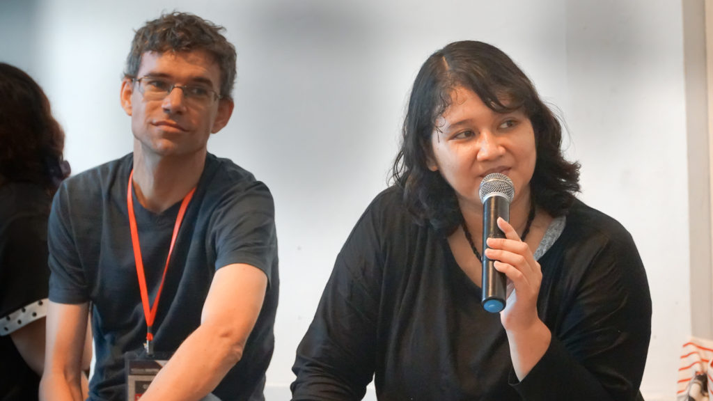 Egbert Wits, editor of the VideoforChange Impact Toolkit (left) and EngageMedia Coordinator Pitra Hutomo (right)
