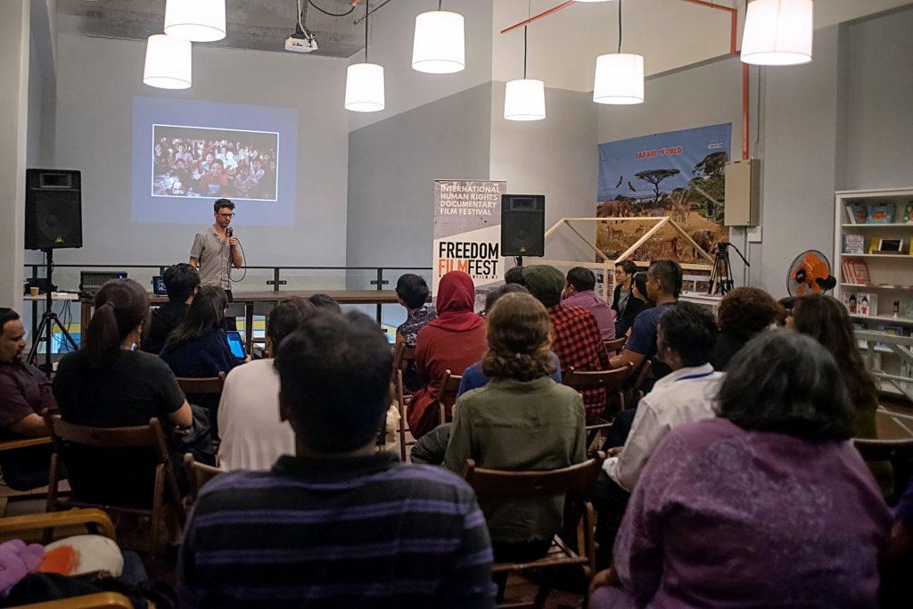 Andrew in a V4C in Freedom Film Festival in Kuala Lumpur 2018