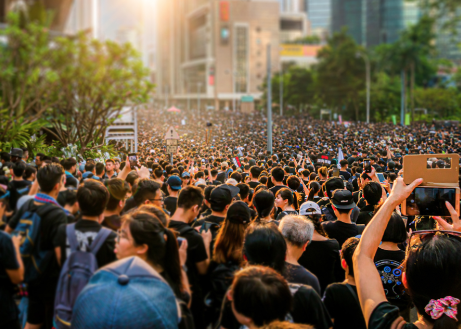 Caption - Demonstration against extradition bill, Hongkong, 16 June 2019 (Photo by Wongan4614 Wikimedia commons CC4, Edited by Engagemedia)