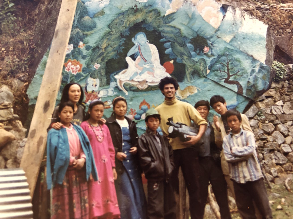 Outside Milarepa's cave in Helambu, Nepal . 1996.