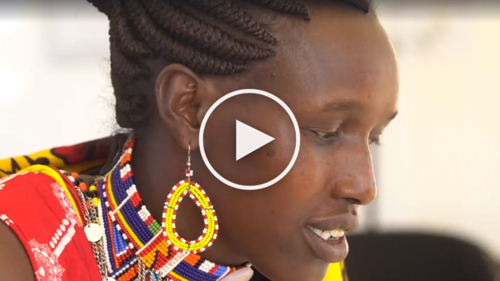 Scholastica Kukutia, a member of the Maasai community of Kenya (click to watch the video)